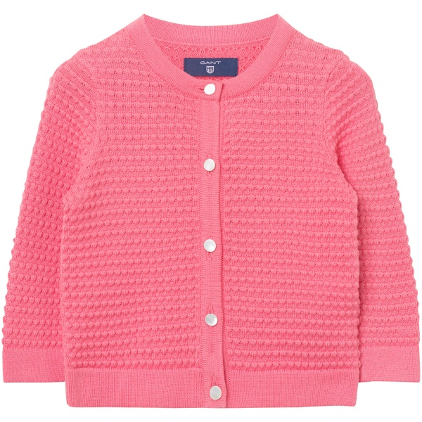 Gant, o. baby girls texture cardigan, strawberry pink