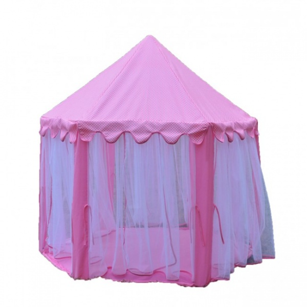 Supersøtt, rosa leketelt med gardiner - Babybanden